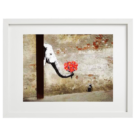 Banksy (after) - Elephant offering flowers