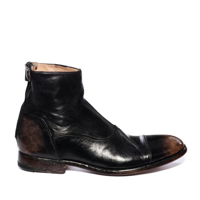 ELIAS 10000 <br>Light brown vintage black ankle boots