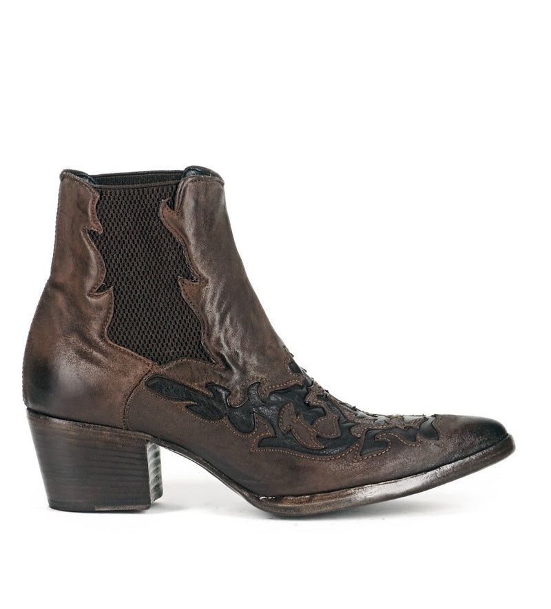 URSULA 46036, Brown texan inspired Ankle boots, vista 1