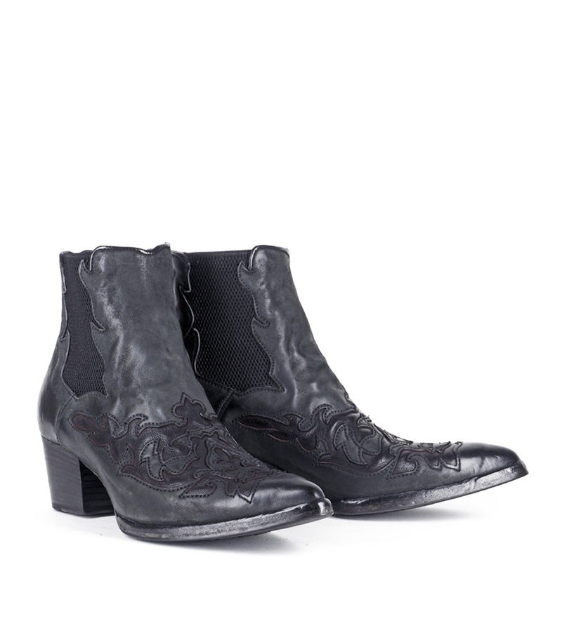 URSULA 46036, Black texan inspired Ankle boots, vista 2