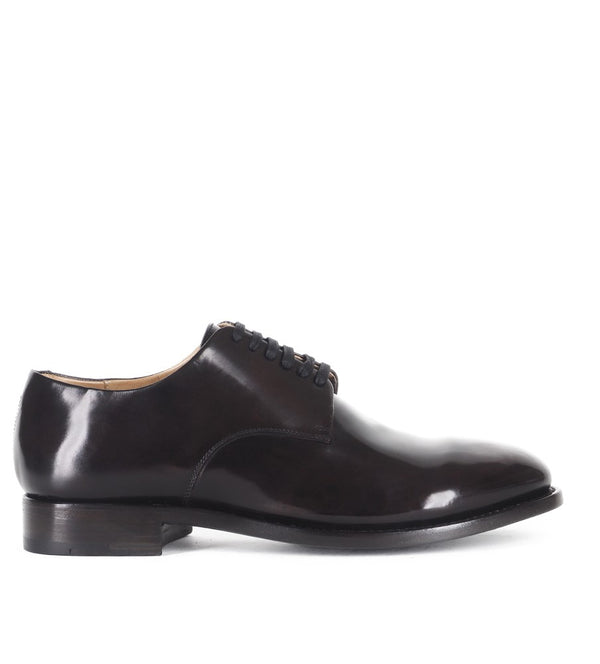 WOLF 13<br>Black derby shoes in shell cordovan