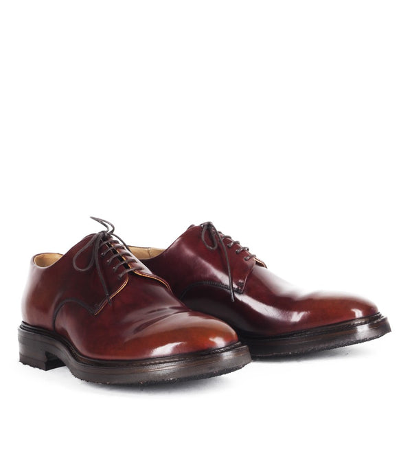 WOLF 13<br>Burgundy derby shoes in shell cordovan