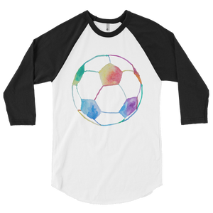 Rainbow Soccer Ball 3/4 sleeve raglan shirt