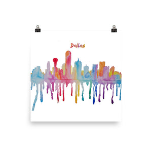Dallas Texas Watercolor Poster