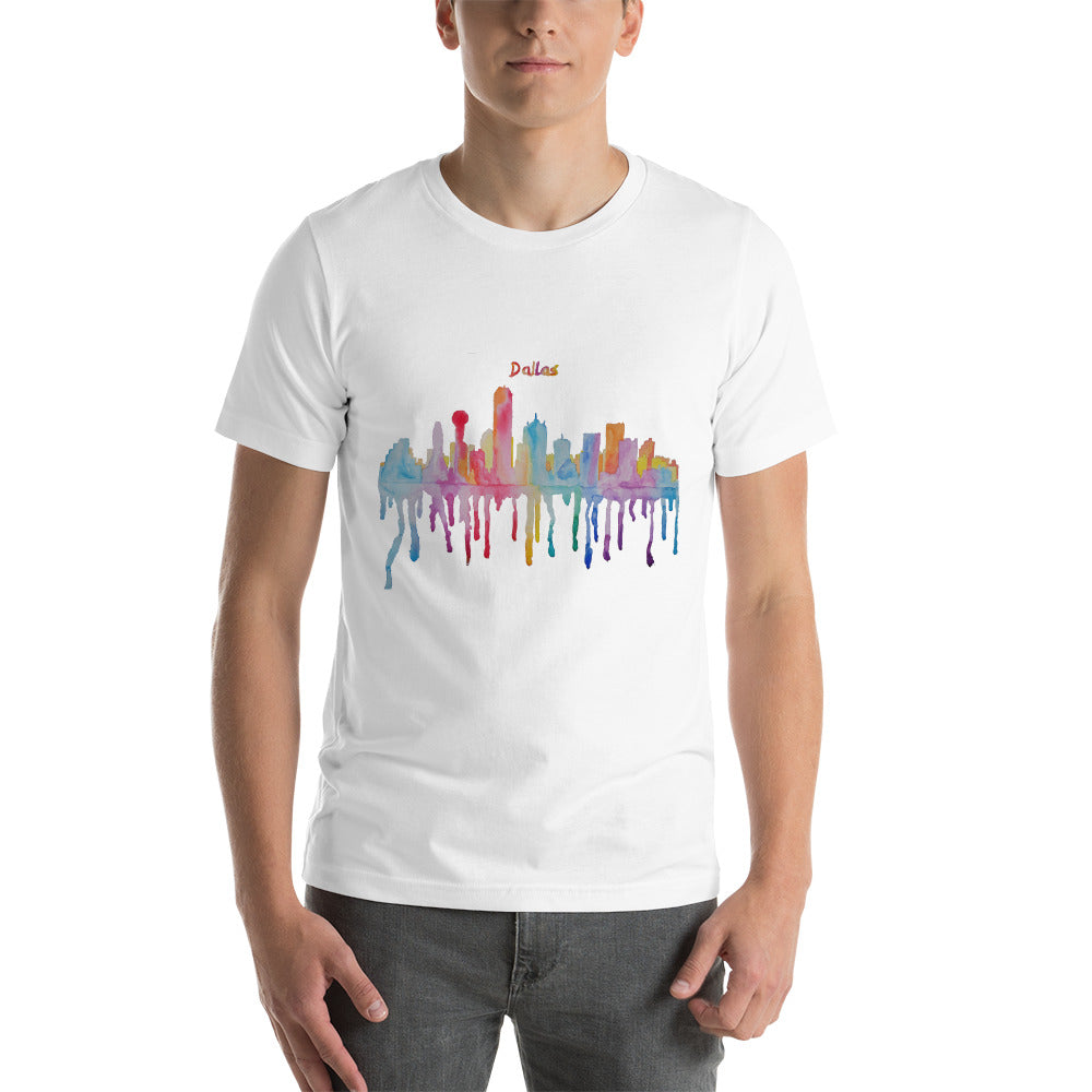 Dallas Texas Watercolor Short-Sleeve Unisex T-Shirt