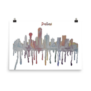Dallas Texas Muted Color Poster
