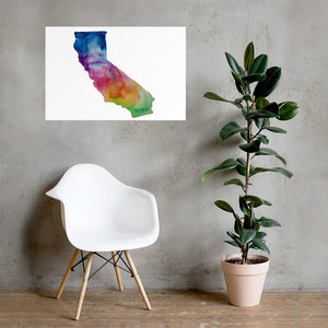 California Watercolor Poster