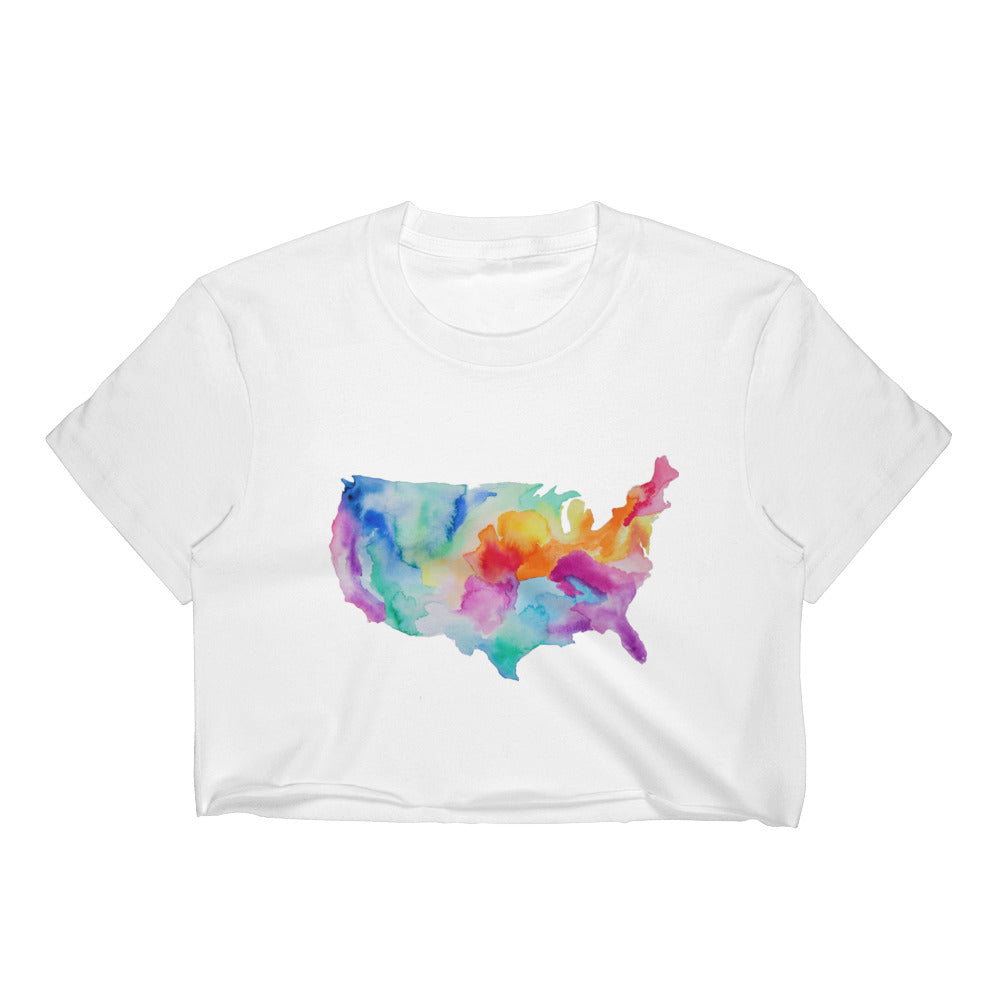 USA Watercolor Women's Crop Top