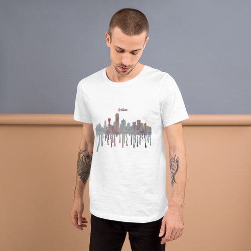 Dallas Texas Muted Color Watercolor Short-Sleeve Unisex T-Shirt
