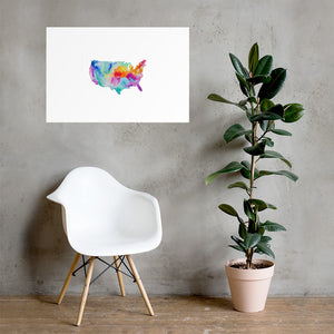 USA Watercolor Poster