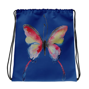 Blue Butterfly Drawstring bag