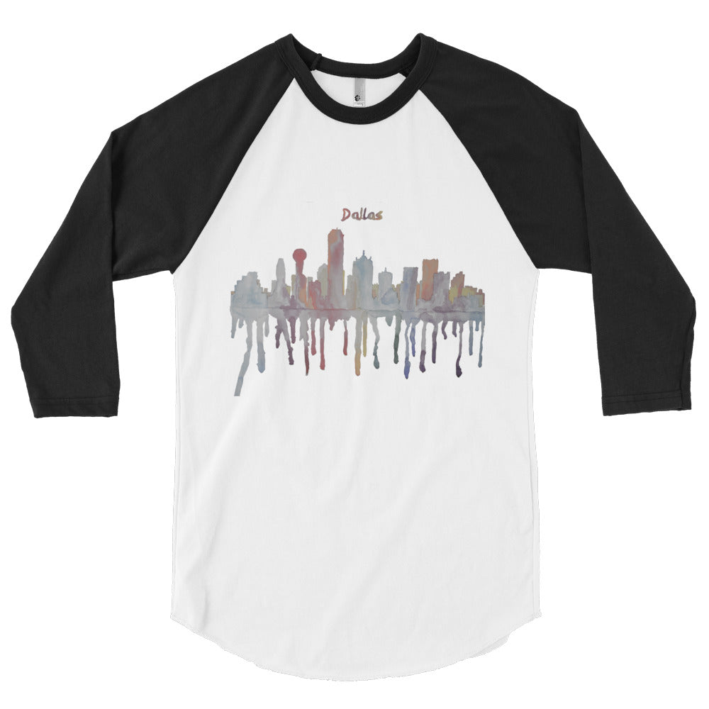 Dallas Texas Muted Color Watercolor 3/4 sleeve raglan shirt