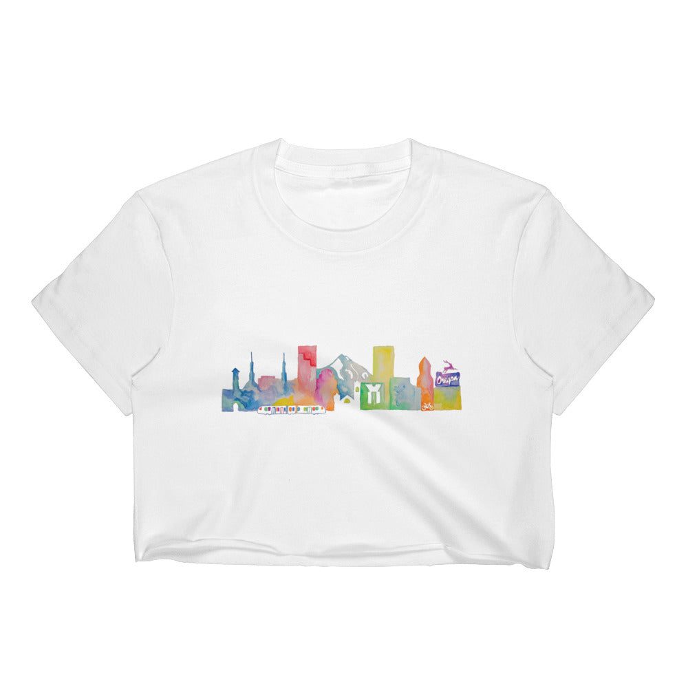 Portland OR Watercolor Women's Crop Top