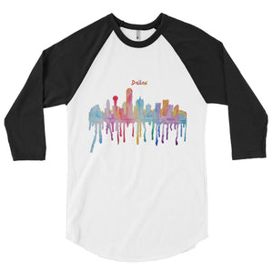 Dallas Texas Watercolor 3/4 sleeve raglan shirt