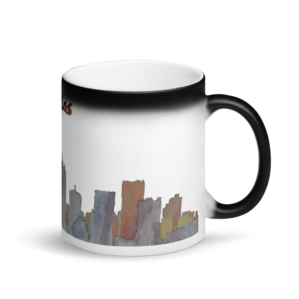 Dallas Texas Muted Color Matte Black Magic Mug
