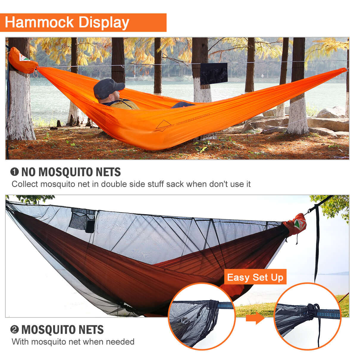 double camping hammock with tree straps