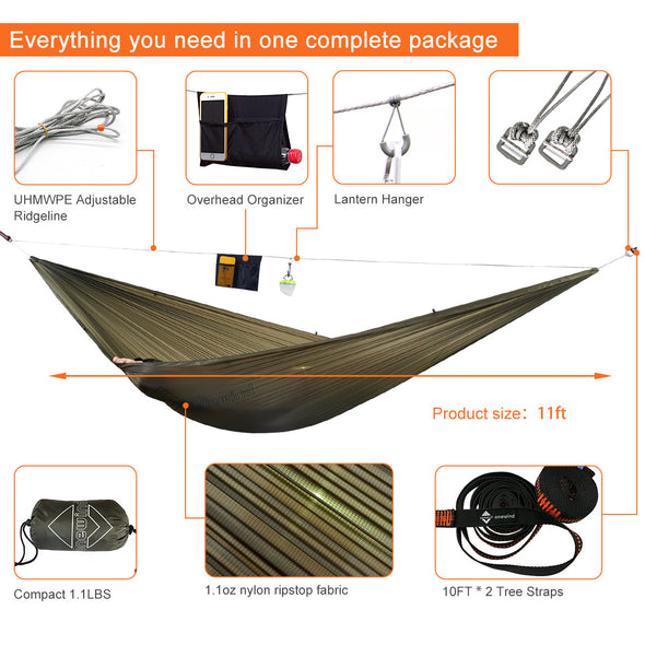 11' Onewind 1.1oz Ultralight Single Hammock