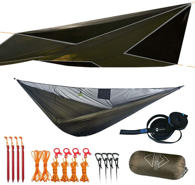 Special Offer- Onewind 11' Double Hammock with Bugnet and 12' Rain Fly Tarp-Sale