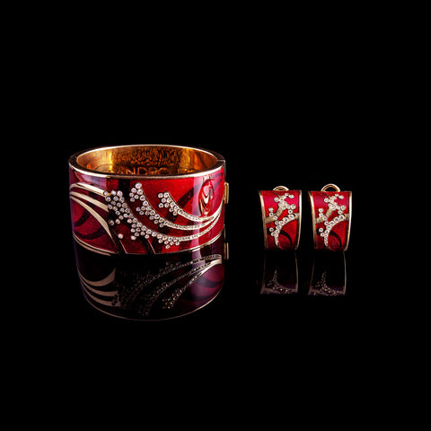 Enamel Bangle Bracelet & Earrings Set