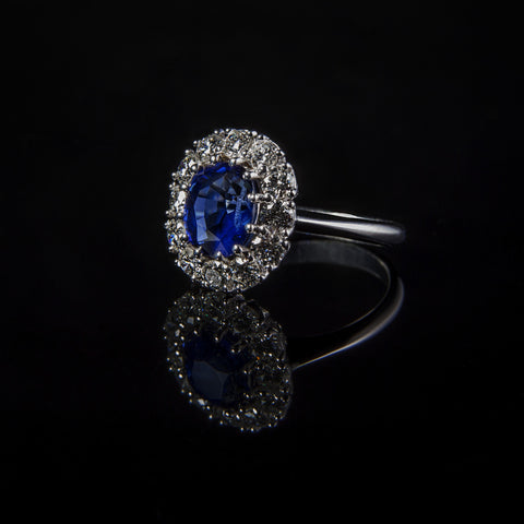 Handmade Ceylon Sapphire and Diamonds Engagement Ring