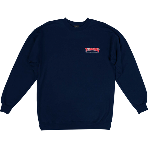 Embroidered Outline Crewneck (Navy)