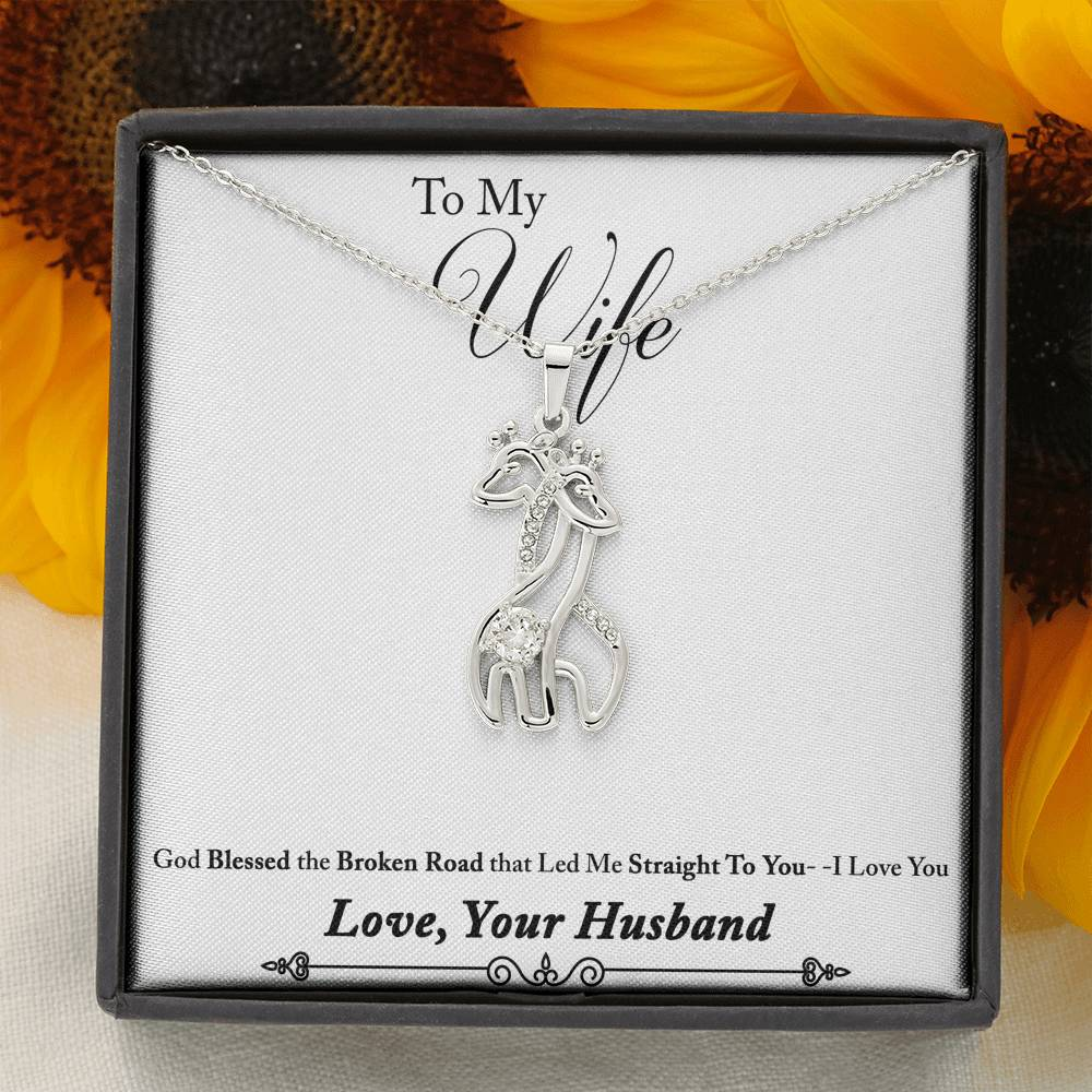 Graceful Love Giraffe Necklace with Message Card To Your Wife