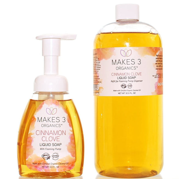 Cinnamon Clove Organic Liquid Soap Starter Bundle