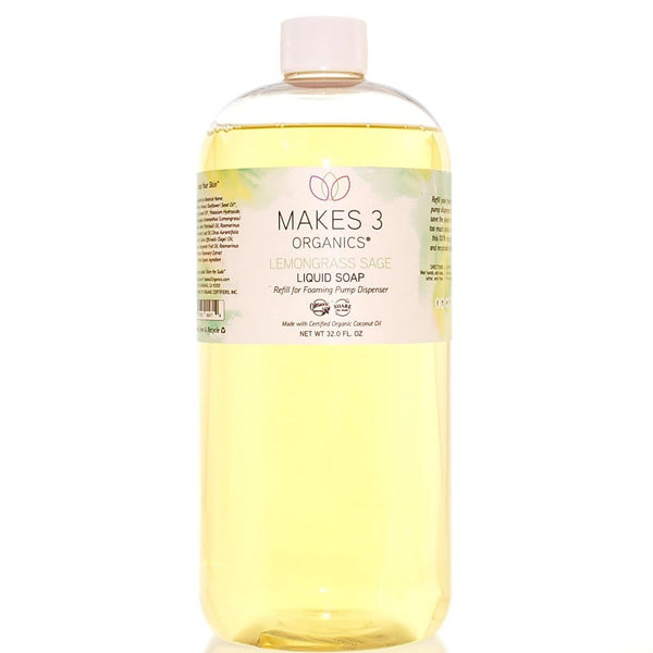 Lemongrass Sage Organic Liquid Soap Refill (32oz)