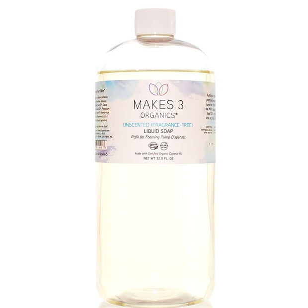 Unscented (Fragrance Free) Organic Liquid Soap Refill (32oz)