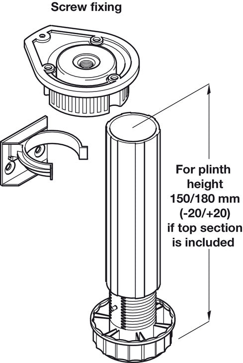 Plinth Foot Set, for 150 to 180 mm Plinth Heights, Screw Fixing (Set) - Fixing King