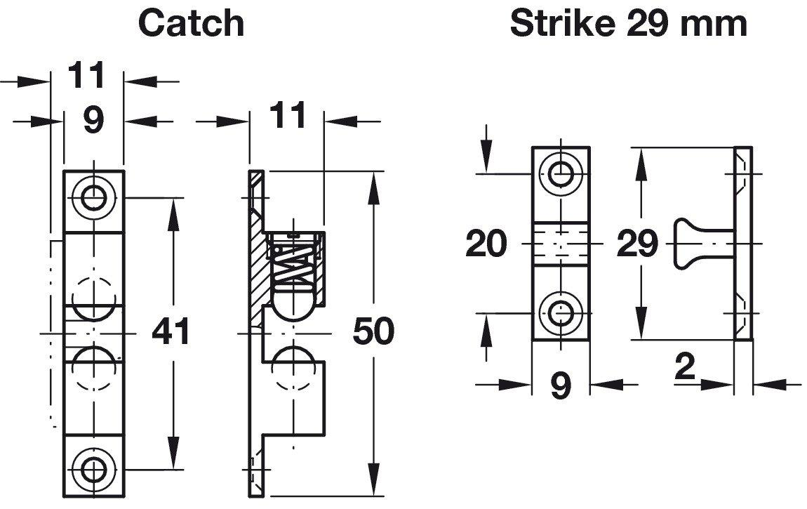 Twin Ball Catch, for Screw Fixing 49mm