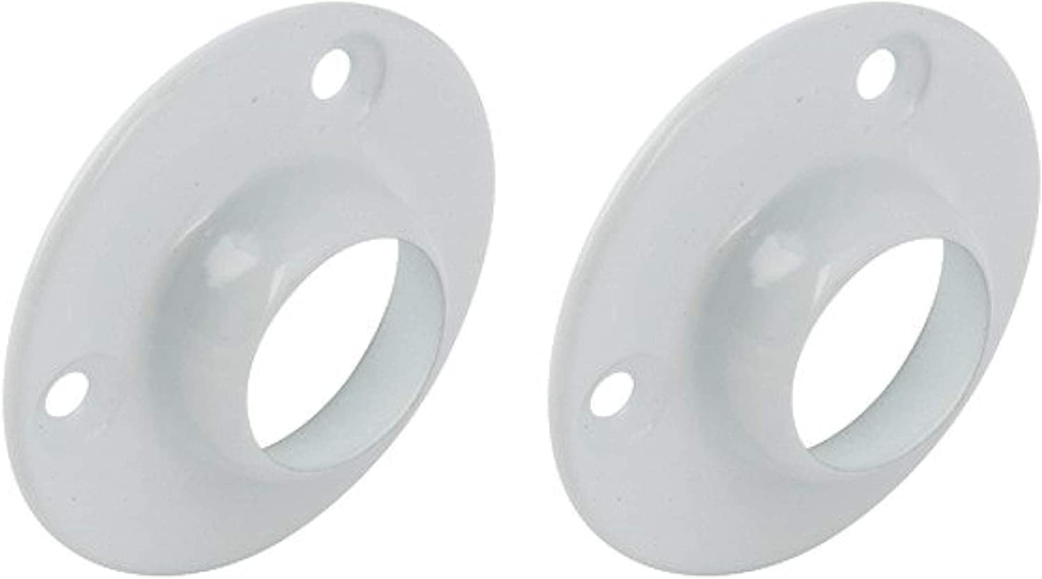 Round Wardrobe Rail Rod Socket End Support Bracket Rings White 19mm Heavy Duty