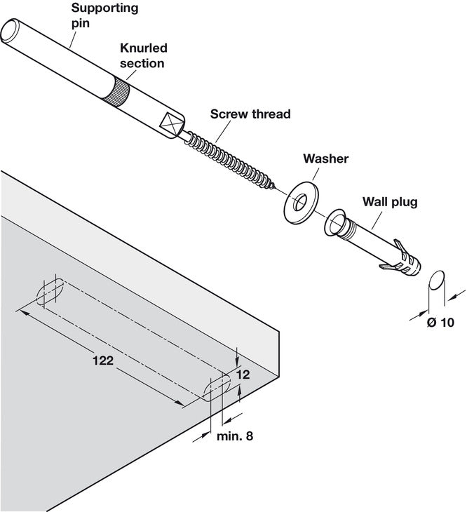 Concealed Shelf Support, for Installation into Masonry Walls - Fixing King