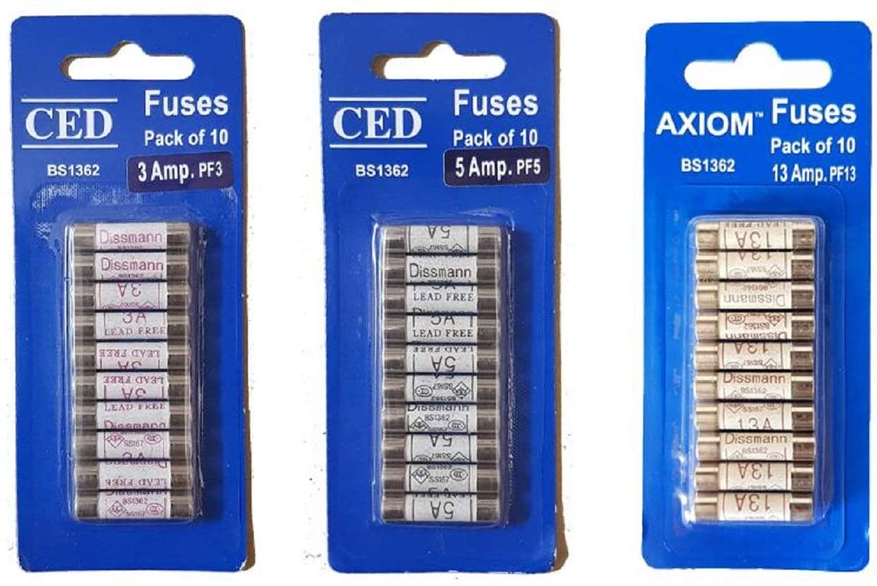 Domestic 240V Household Mains Plug Fuse Electrical Cartridge Fuse 3/5/13Amp Fuses Bundle Pack - 10 of each
