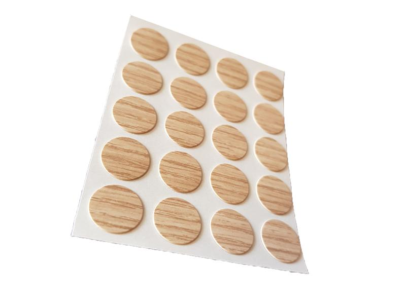 Self Adhesive Screw Cover Caps. Nail and Cam Covers 13mm - Light Oak (20)