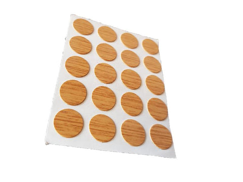 Self Adhesive Screw Cover Caps. Nail and Cam Covers 13mm - New Oak (20) - Fixing King