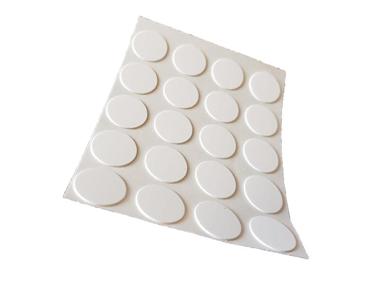 Self Adhesive Screw Cover Caps. Nail and Cam Covers 13mm - White (20)