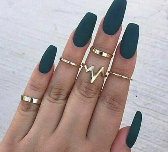 5Pcs/Set Gold Stack Rings - Fashion Addict Shop