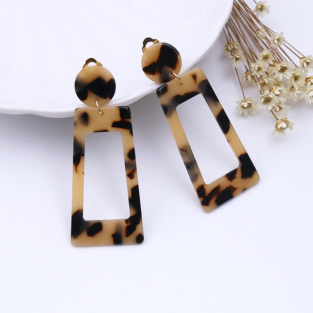 Clip on Geometric Square Earrings - Fashion Addict Shop