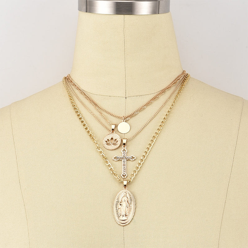 Lotus Cross Crystal Virgin Mary Pendant Multilayer Gold Necklace Set - Fashion Addict Shop