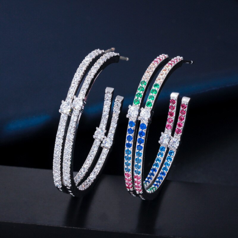 Stunning Lady Rainbow Cubic Zircon Earrings - Fashion Addict Shop