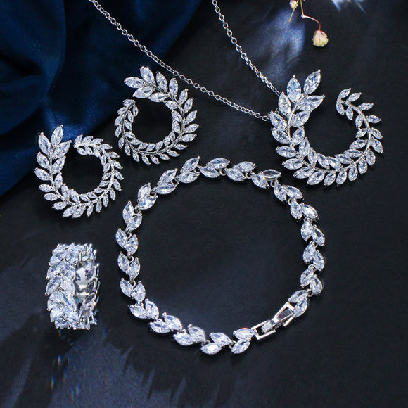 Charming Leaf Shape Marquise Set - Fashion Addict Shop