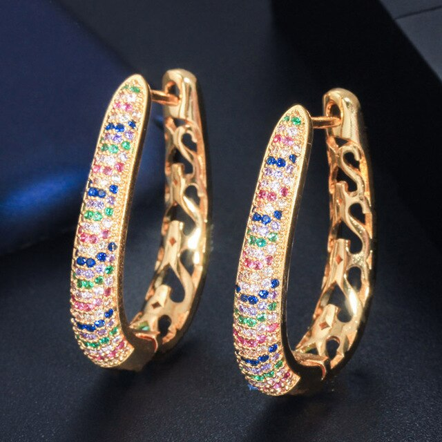 Nigerian Gold Colorful Big Hoops - Fashion Addict Shop