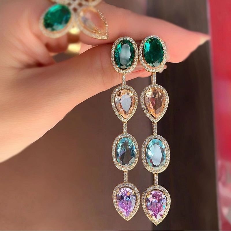 Luxury Water Drop Long Earrings - Fashion Addict Shop
