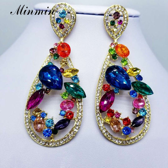 Romantic Teardrop Crystal Long Drop Earrings - Fashion Addict Shop