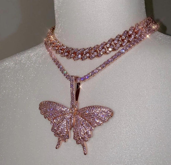 Pink Butterfly Chain