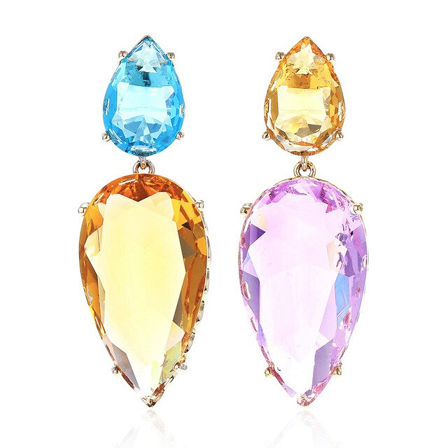 Large Water Drop Stone Earrings - Fashion Addict Shop