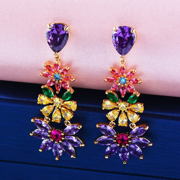 Dazzling Colorful Flowers Drop Earrings - Fashion Addict Shop