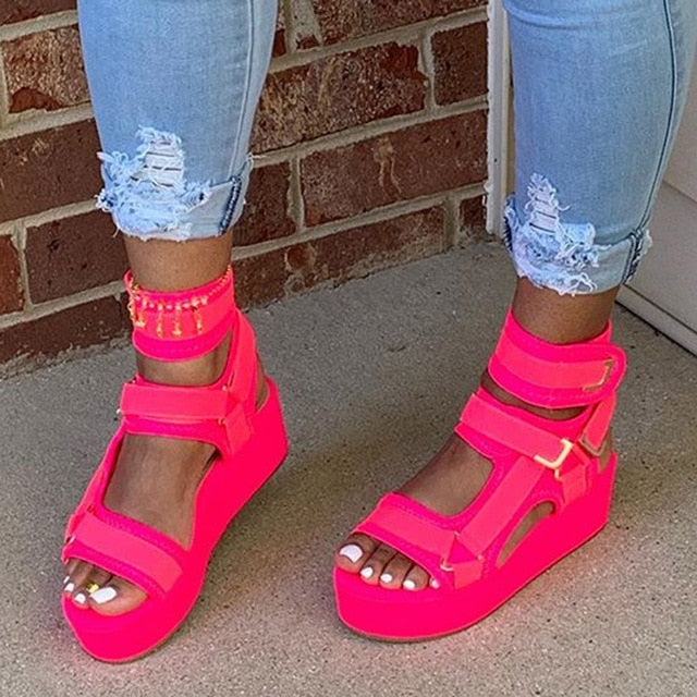 Velcro Platform Open Toe Platform Solid Color Sandals Women 2020 Summer Fashion Casual Outdoor Beach Shoes Pink/Orange