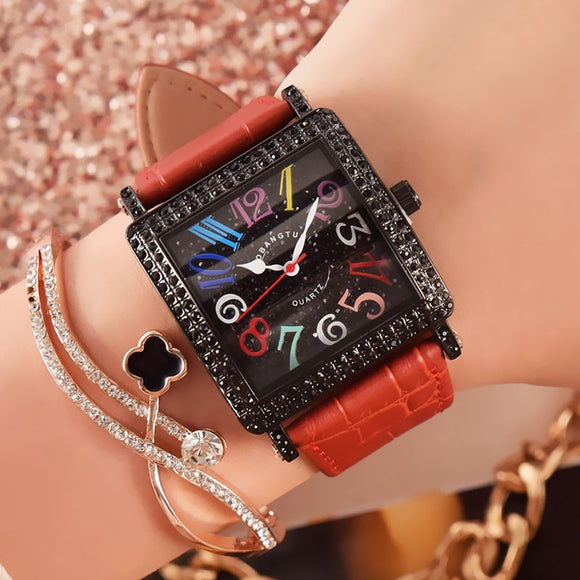 Crystal Leather Watch